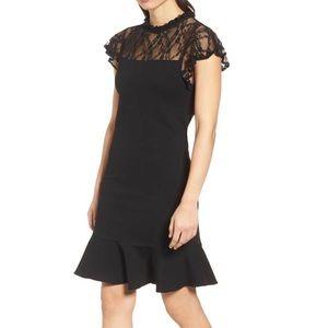 BOBEAU – Lace Yoke Ruffled A-Line Dress